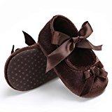 TRENDINAO Baby Toddler Girls Pretty Crib Shoes Princess Cotton Soft Prewalker Soft Anti-Slip Shoes (US:4(12~18 Month), Brown)