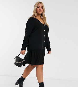 Asos DESIGN Curve swing trapeze mini dress with pep hem in black