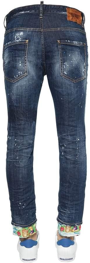 DSQUARED2 16cm Skater Cotton Denim W/ Printed Hem