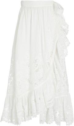 Zimmermann Lulu Embroidered Midi Wrap Skirt
