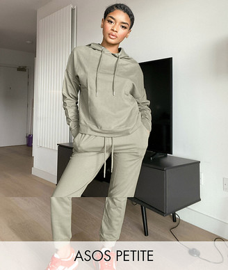 ASOS DESIGN Petite tracksuit hoodie / slim jogger with tie in organic cotton in pale khaki