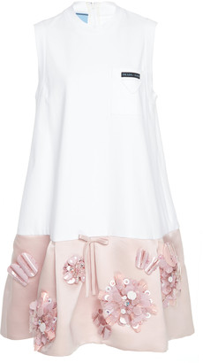 Prada Embellished Satin-Paneled Jersey Mini Dress