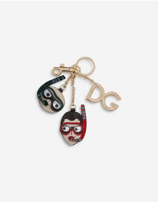 Dolce & Gabbana Dauphine Calfskin Keychain With Patches Of The Designers