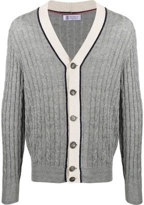 Brunello Cucinelli cable knit V-neck cardigan