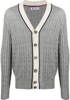 Brunello Cucinelli cable knit V-neck cardigan