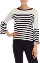 Joseph A Stripe Bell Sleeve Sweater