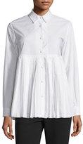Co Sun Pleated Long-Sleeve Cotton Shirt, White