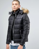 Asos Quilted Jacket With Fur Trim Hood In Black