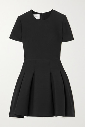 Valentino Pleated Wool And Silk-blend Crepe Mini Dress - Black