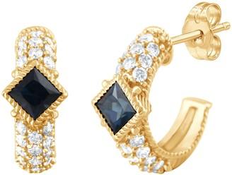 Judith Ripka 14K Gold Sapphire & Diamond Earrings