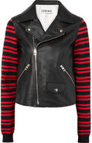 Loewe Leather And Striped Wool-blend Biker Jacket - Black