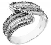Paradise Jewelers Women's 0.02 CTW B&W Pave Diamond 14K White Gold-Plated Sterling Bypass Band, Size 5.5