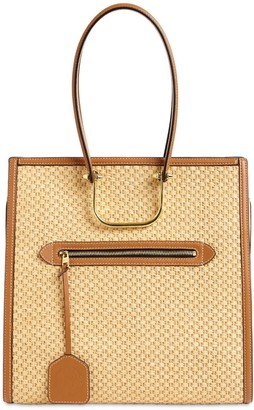 Alexander McQueen THE TALL STORY RAFFIA & LEATHER TOTE