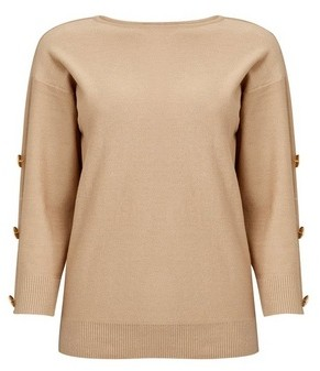Dorothy Perkins Womens Camel Button Sleeve Jumper