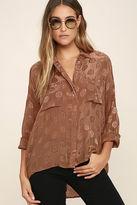 Amuse Society Tahara Brown Button-Up Top