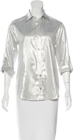 Alice + Olivia Metallic Button-Up Top