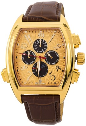 Burgmeister Men's Automatic Watch with Gold Dial Analogue Display and Brown Leather Bracelet BM131-275