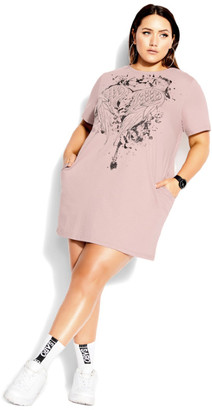 City Chic Heart Wings Dress - dusty rose