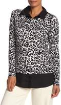 Adrianna Papell Leopard Print Twofer Sweater