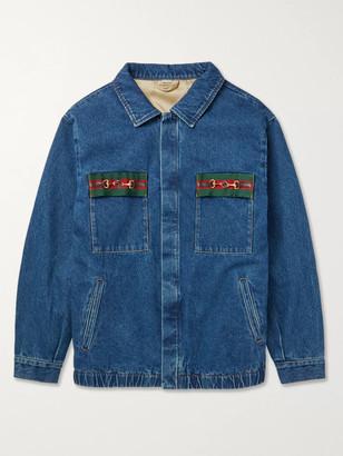 Gucci Oversized Embellished Webbing-Trimmed Denim Jacket - Men - Blue