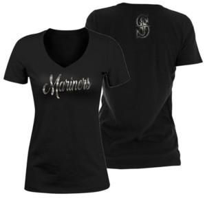 5th & Ocean Women's Seattle Mariners Black Foil V-Neck T-Shirt