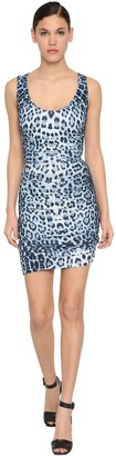 Roberto Cavalli Draped Leopard Print Jersey Mini Dress
