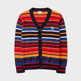 Paul Smith Boys' 2-6 Years Multi-Colour Stripe Cotton-Cashmere Zebra Logo Cardigan