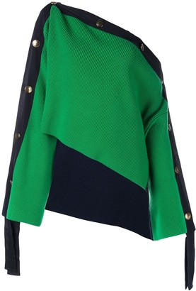Monse Two-Tone Grosgrain Cropped Jumper