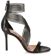 Alaia Elastic Crisscross Stiletto Leather Sandals