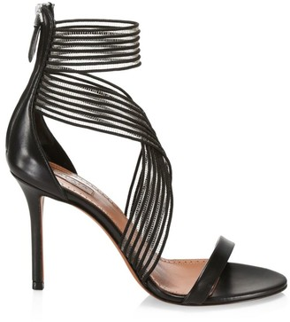 Alaia Elastic Crisscross Stiletto Leather Sandals