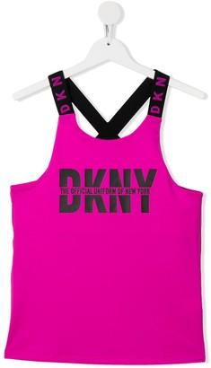 DKNY Logo Vest With Cross-Over Back