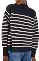 Topshop Women's Stripe Turtleneck Sweater