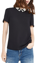 Oasis Embroidered Collar Butterfly Top, Black