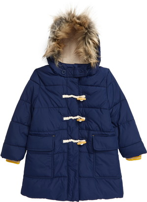 Boden Kids' Insulated Duffle Jacket with Faux Fur Trim