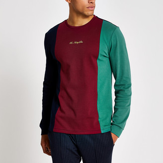 River Island R96 navy colour blocked long sleeve T-shirt