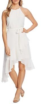 CeCe Clip-Dot Handkerchief Hem Dress