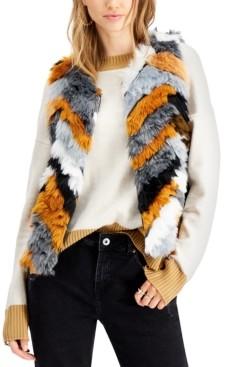 Say What Juniors' Chevron Faux-Fur Vest