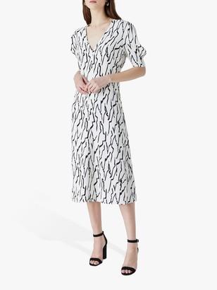 Finery Olney Abstract Line Print Midi Dress, Black/Ivory