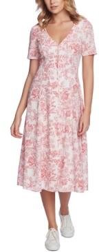1 STATE Floral-Print V-Neck Dress