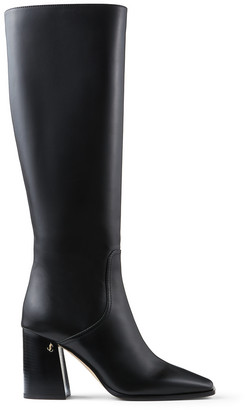 Jimmy Choo BRIONNE 85 Black Calf Leather Boots with Angular Block heels