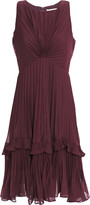 Halston Twist-front Pleated Voile Dress