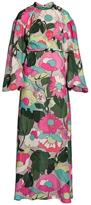 Fendi Windflowers Silk Maxi Dress