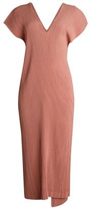 Issey Miyake Hatching Pleats V-Neck Midi Dress