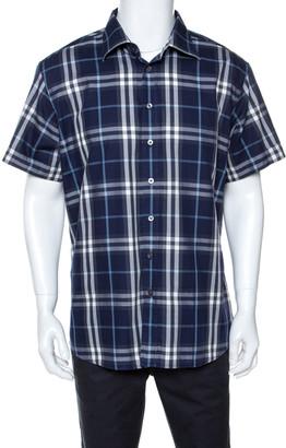 Burberry Navy Blue Plaid Cotton Slim Fit Short Sleeve Shirt XXL