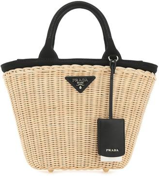 Prada Straw Bucket Bag