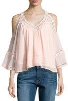 Rebecca Minkoff Deneuve Cold-Shoulder V-Neck Top, Pink