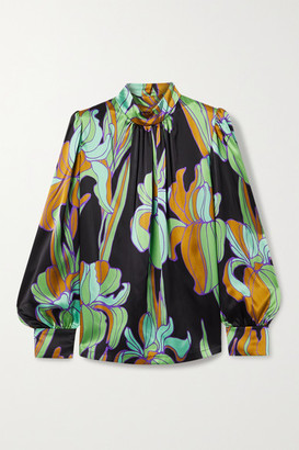Dries Van Noten Floral-print Silk-satin Blouse - Green