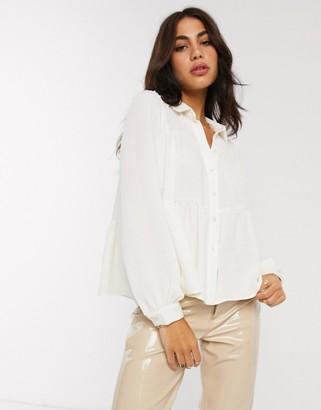 Vero Moda smock shirt with tiering in white