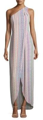 BCBGMAXAZRIA Dries Printed One-Shoulder Gown