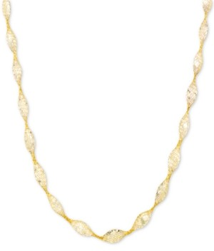 "Italian Gold Cubic Zirconia Mesh Link 18"" Collar Necklace in 14k Gold"